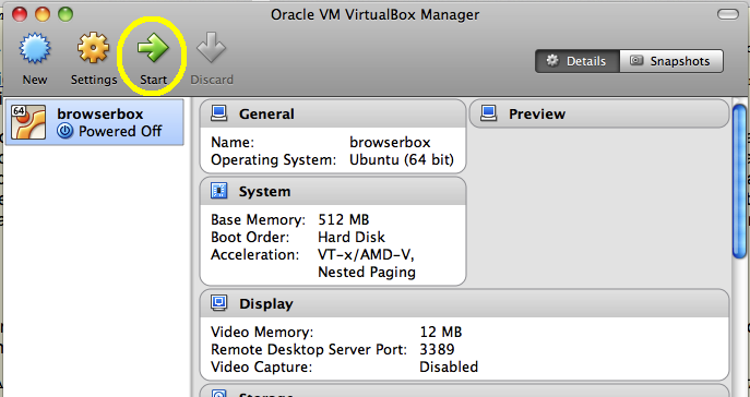 VirtualBox manager start